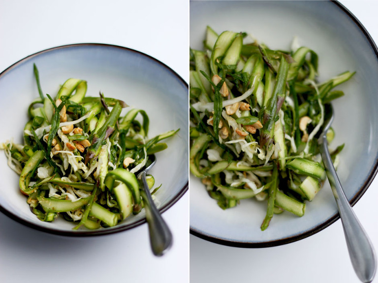 shaved asparagus salad with sesame chili lime dressing - The First Mess