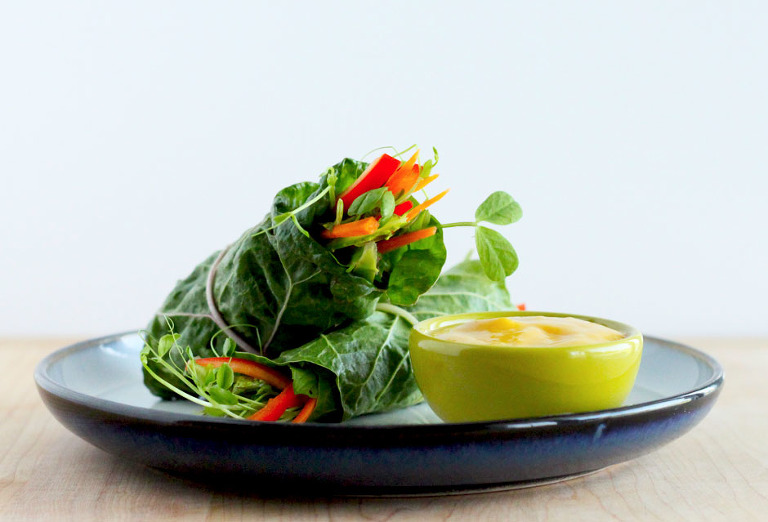raw chard salad rolls with spicy mango dip - The First Mess
