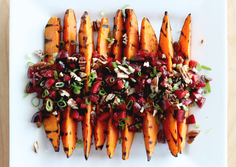 Grilled Sweet Potatoes with Cherry Salsa (Vegan)