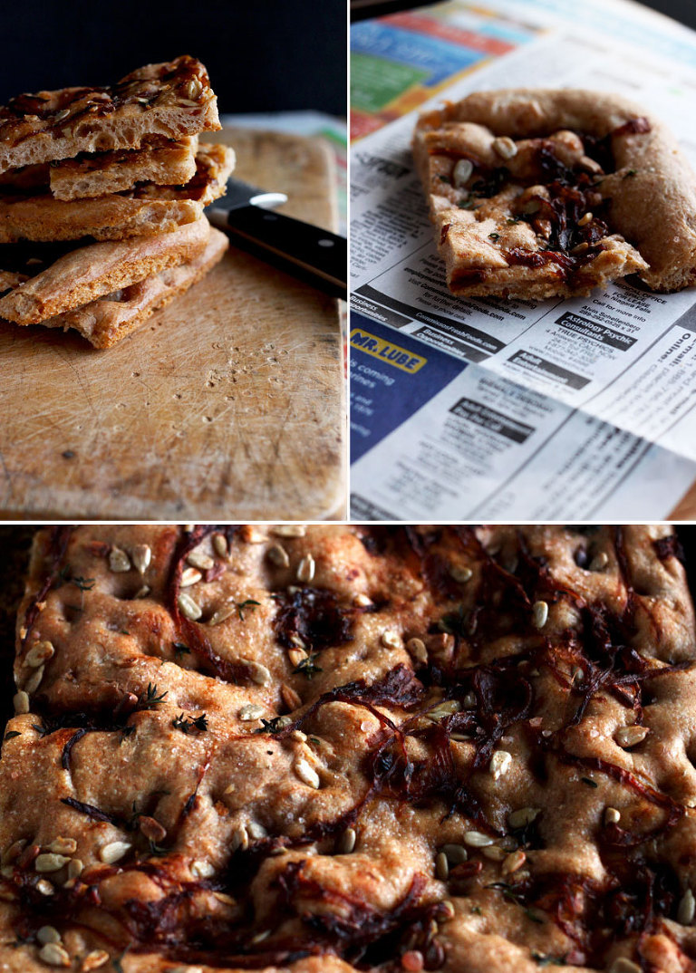 Spelt Focaccia with Caramelized Onions - The First Mess