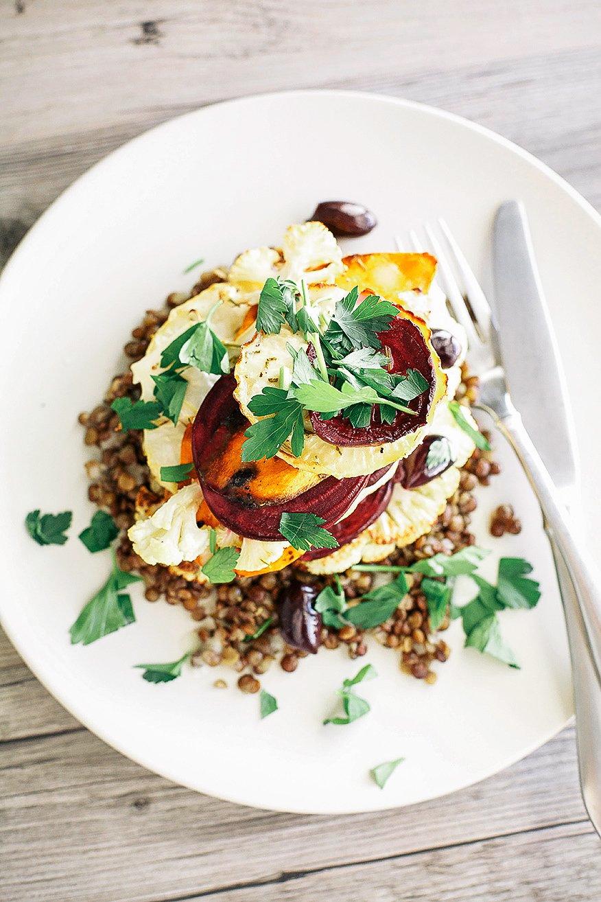 rosemary vegetable stack with lentils + creamy horseradish vinaigrette ...