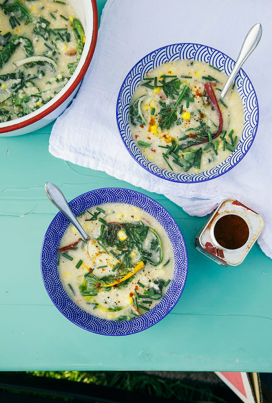 Quick Vegetarian Lunch Awaits: Creamy Millet Corn Chowder with Greens
