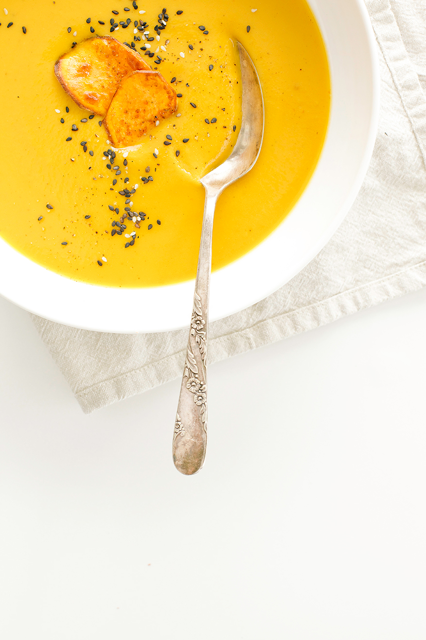 sweet potato soup with coriander + blood orange // the first mess
