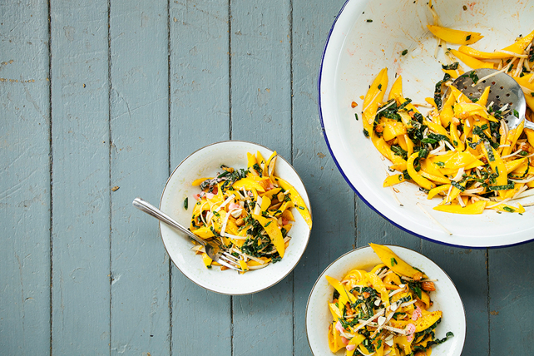 mango salad with rhubarb ginger dressing + chili almonds // the first mess