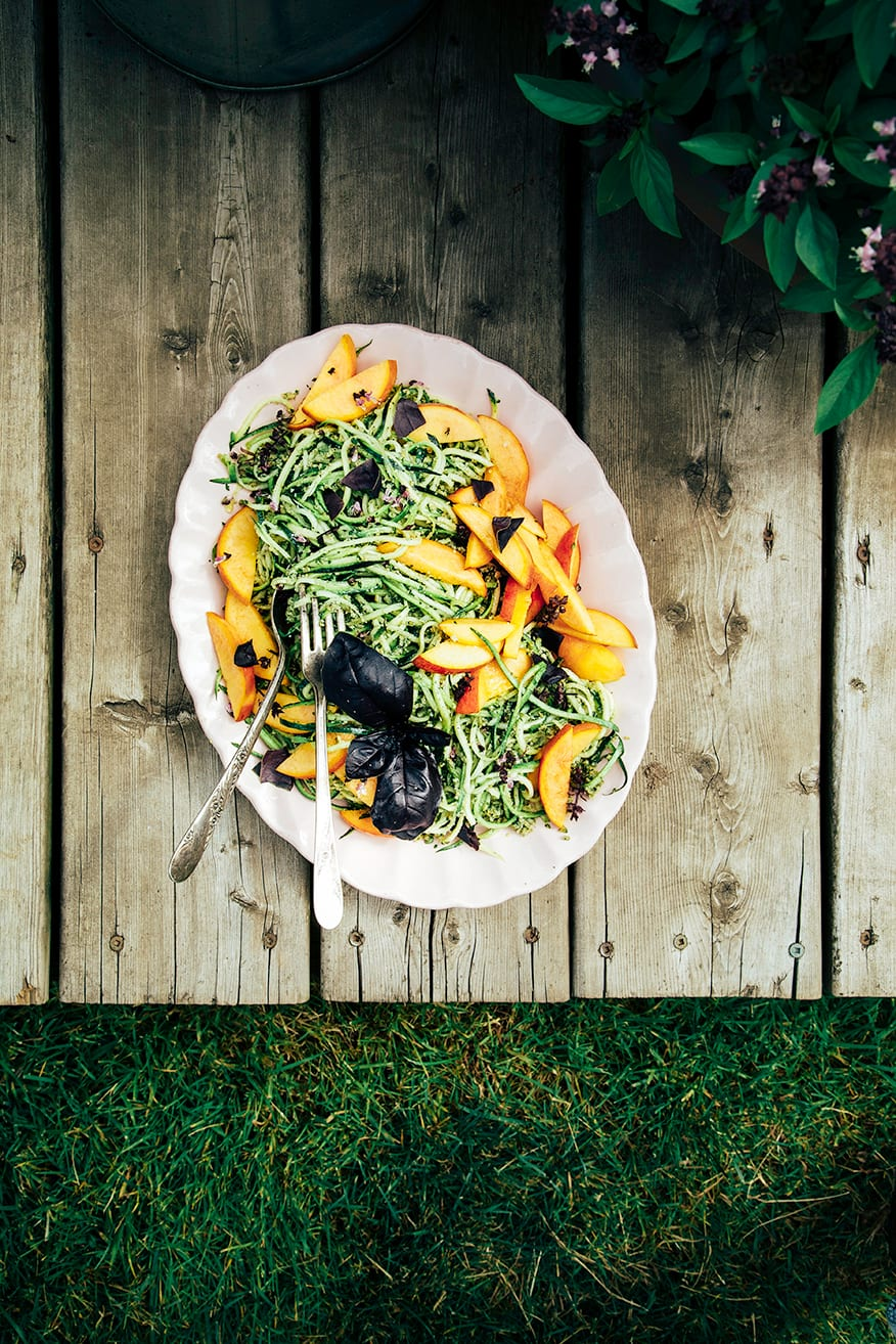 Zucchini Spaghetti with Pumpkin Seed Pesto & Peaches