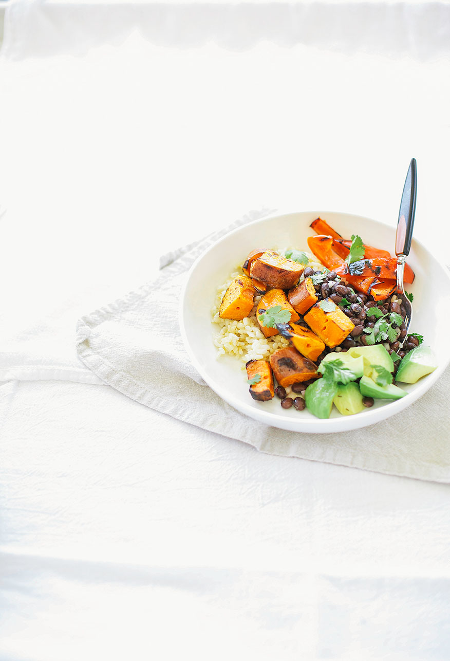 simple grilled sweet potato + black bean burrito bowls (with spicy ...