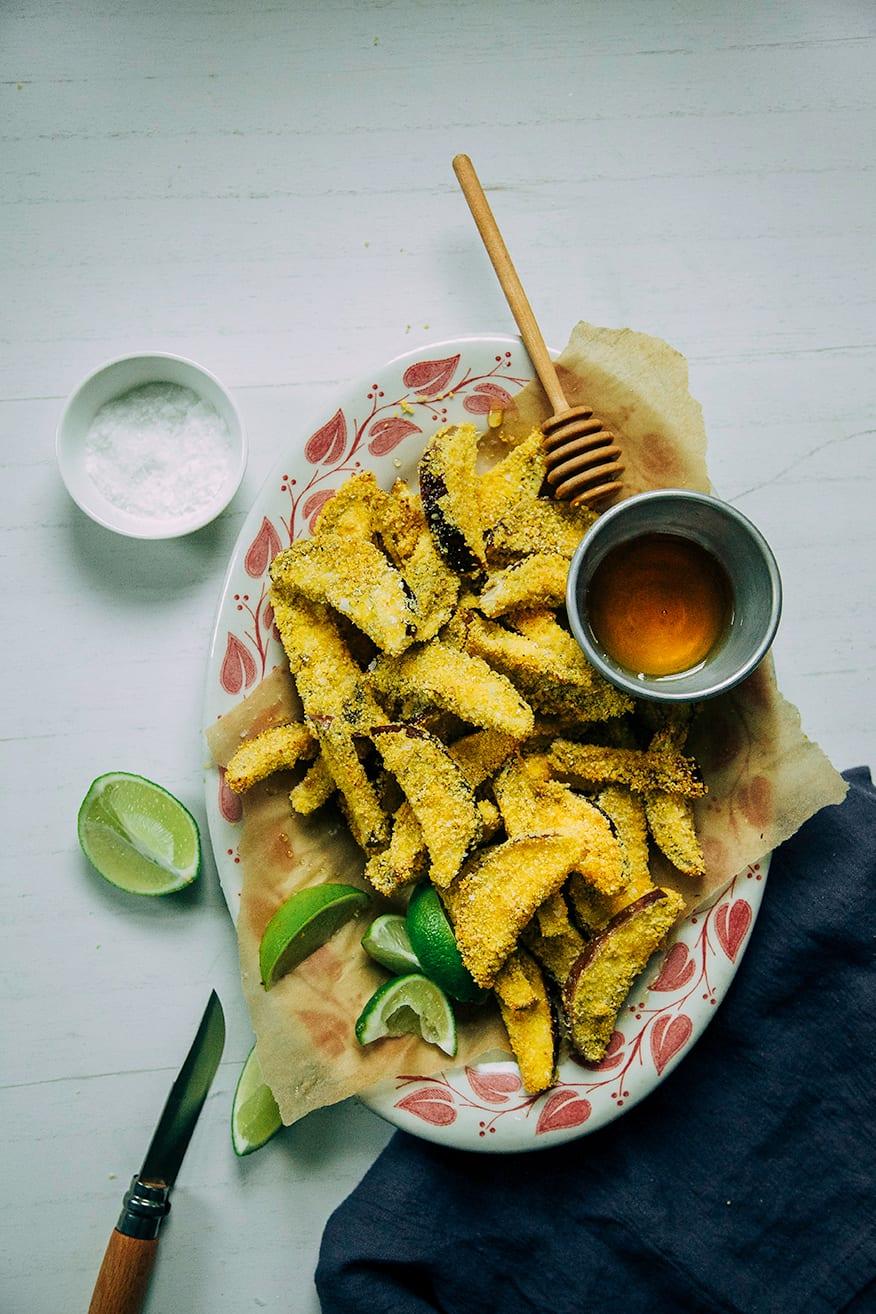 crispy eggplant polenta fries with honey + lime // @thefirstmess