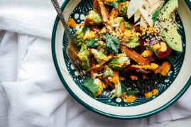 fall veg + lentil bowl with goji ginger tahini cream // @thefirstmess