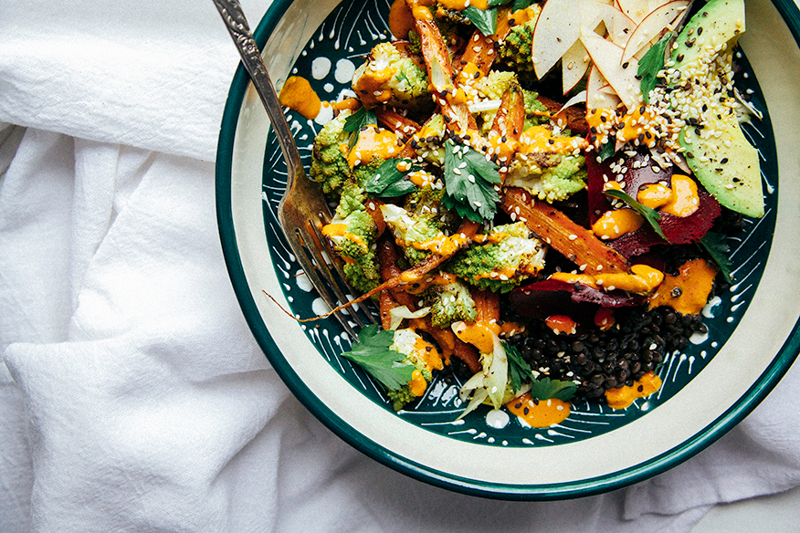 fall veg lentil bowl with goji ginger tahini cream via the first mess