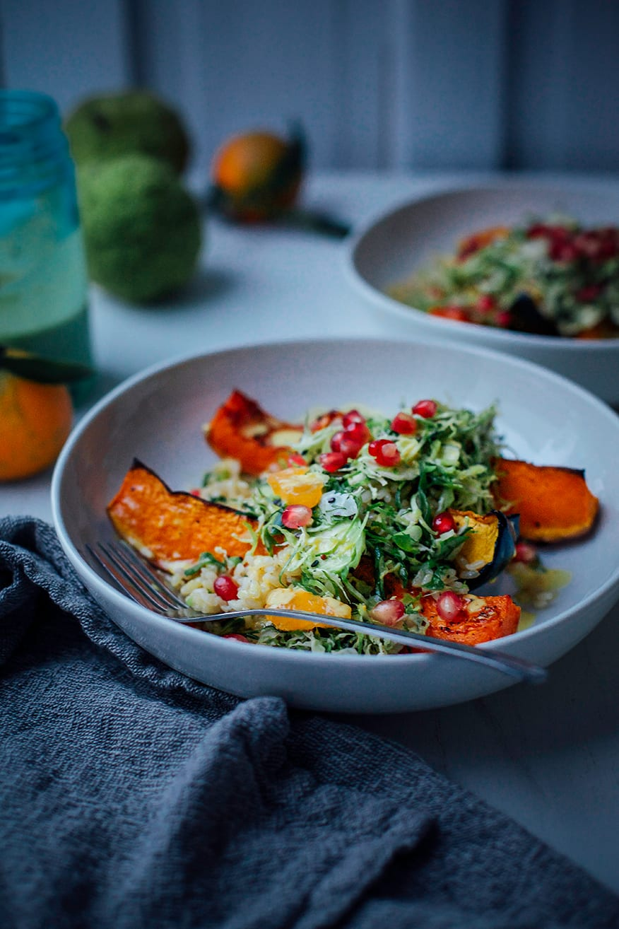 Salty Maple Squash with Ginger Scallion Rice & Turmeric Slaw
