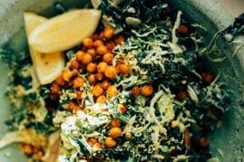 kale + brussels sprout caesar slaw w/ pine nut