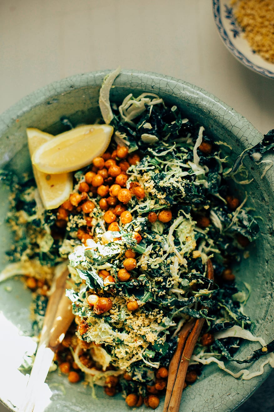 """kale + brussels sprout caesar slaw w/ pine nut """"parm"""" // www.thefirstmess.com"""