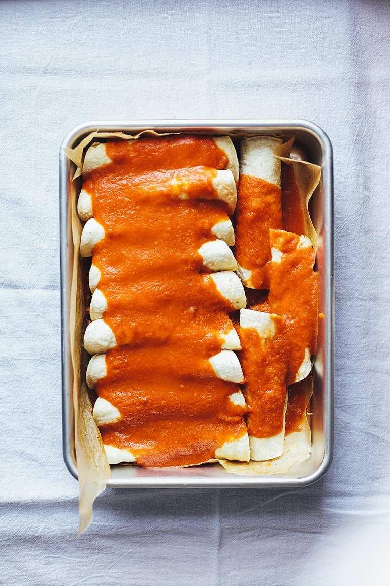cozy vegan enchiladas w/ lime cream // www.thefirstmess.com