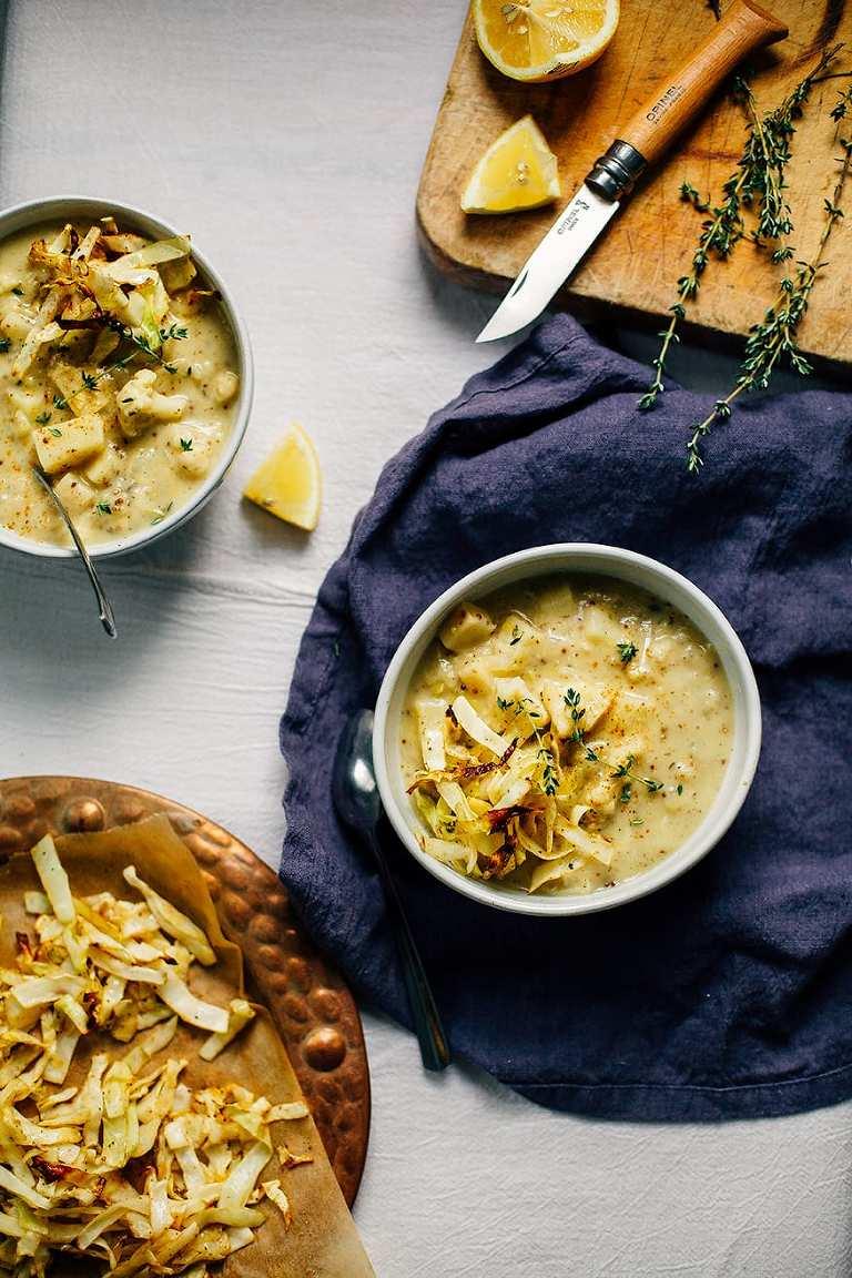 dreamy winter vegetable chowder w/ mustard, lemon + crispy cabbage // www.thefirstmess.com