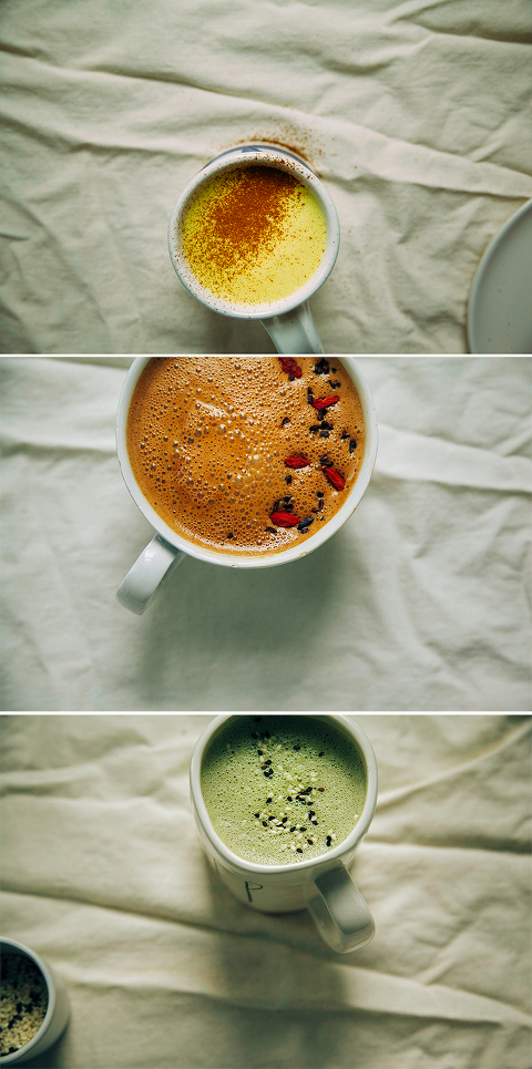 superfood lattes, 3 ways // www.thefirstmess.com