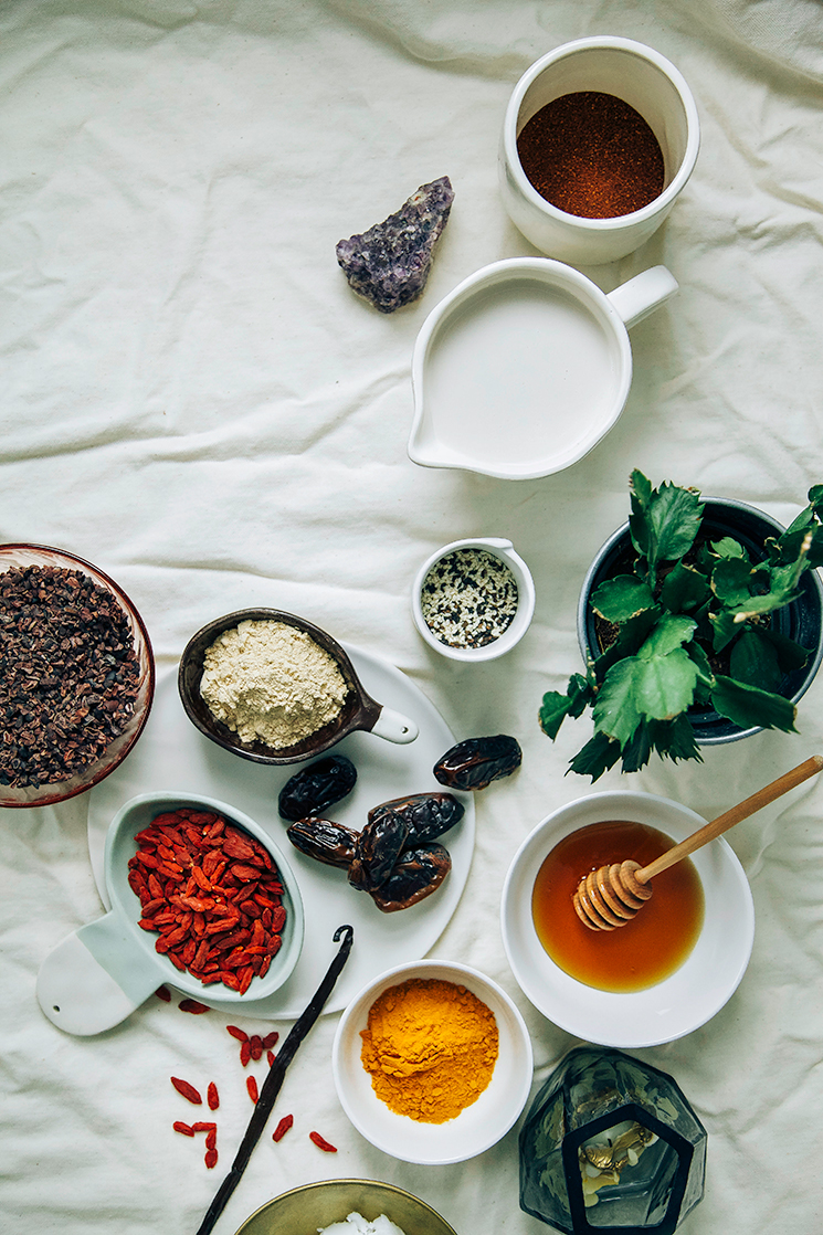 ingredients for superfood lattes // www.thefirstmess.com