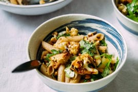 roasted garlic + cauliflower pasta with walnuts (vegan + gluten-free)