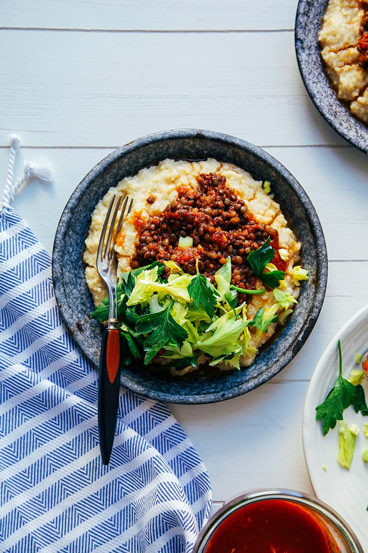 "#vegan bbq lentils with millet ""polenta"" // https://thefirstmess.com"