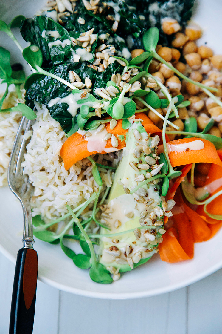 amazing tahini dressing + a healthy bowl // www.thefirstmess.com
