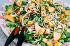cool vegan noodle salad w/ seared tofu + zingy almond butter sauce // via thefirstmess.com