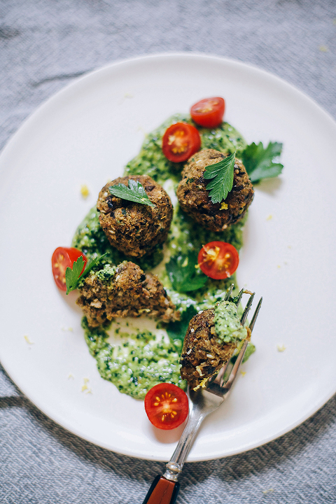 vegan eggplant meatballs with lemony kale pesto // thefirstmess.com