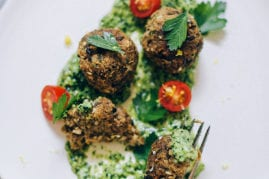 za'atar eggplant meatballs with lemony kale pesto // thefirstmess.com