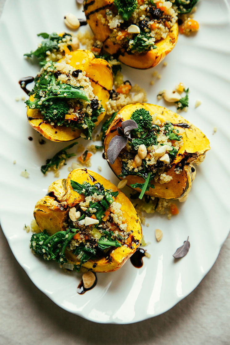 stuffed squash with broccoli rabe and quinoa // thefirstmess.com #broccolirabe