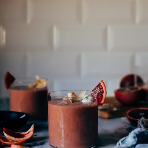 Vegan coconut blood orange lassi with cardamom - The First Mess