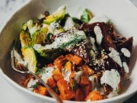 roasted winter supper w/ BBQ tempeh + vegan hemp seed ranch dressing - The First Mess
