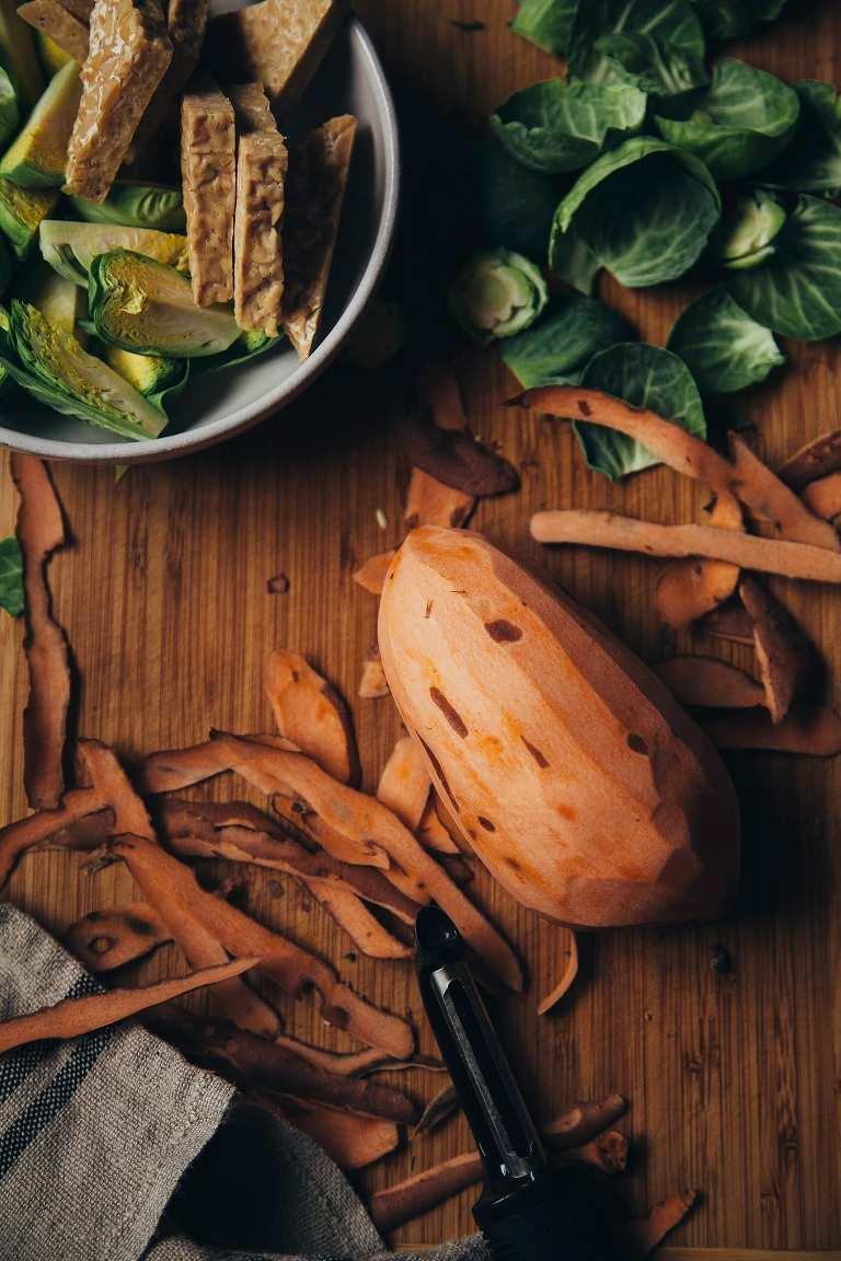 roasted winter bowl w/ BBQ tempeh + vegan hemp seed ranch dressing - The First Mess