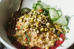 sprouted mung bowl with coconut quinoa + beet tahini - The First Mess