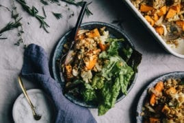 herb and garlic vegetable crumble from