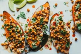Stuffed + Sauced Sweet Potatoes from