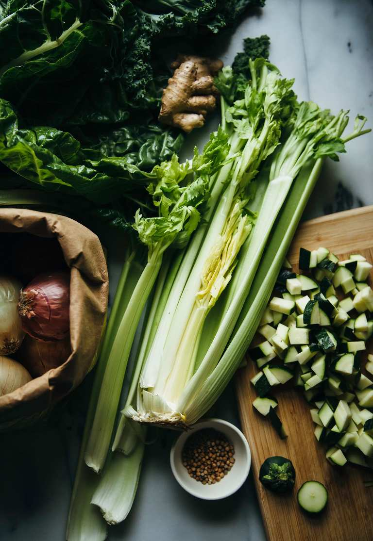 For a coconut green soup with celery, kale and ginger #vegan - The First Mess