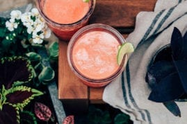 Summer Bliss Juice (watermelon, coconut water, lime + frozen strawberries) - The First Mess