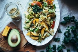 cauliflower salad with nectarines, avocado and pistachio dukkah - The First Mess