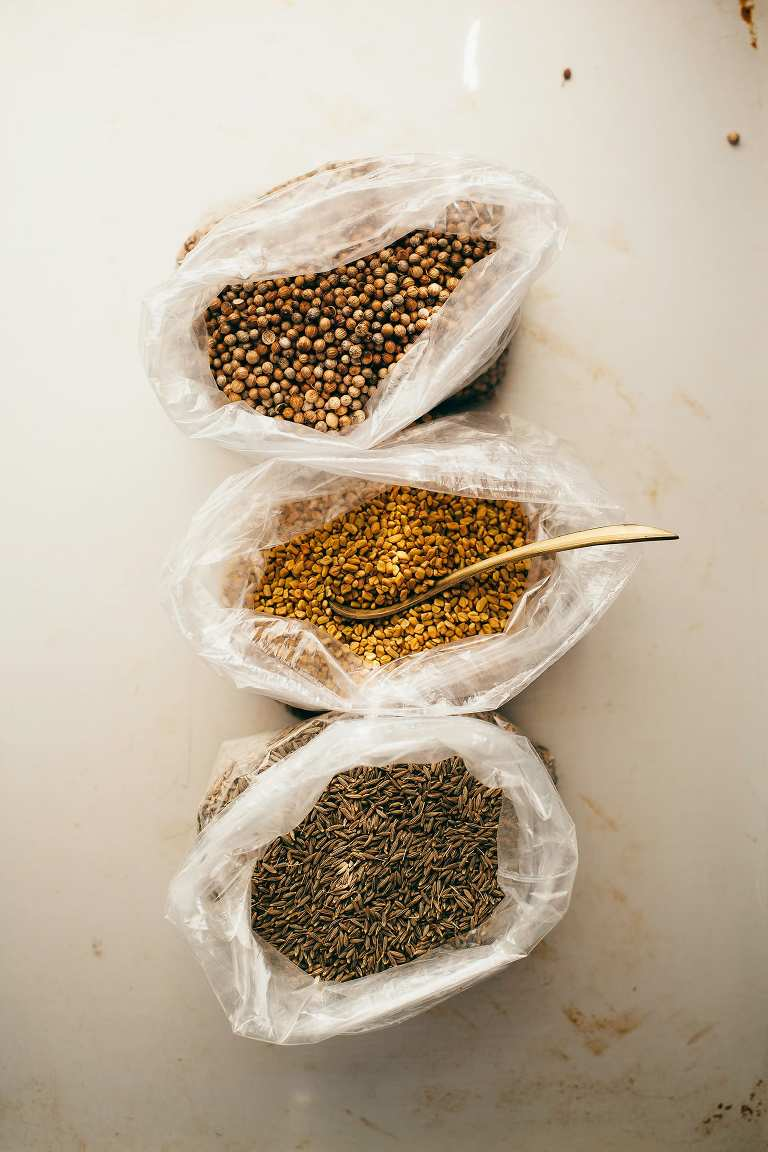 spices for golden split pea patties (vegan, GF) - The First Mess