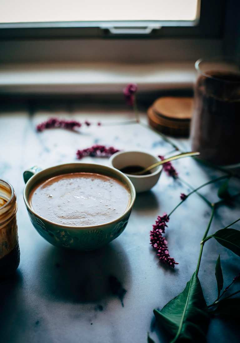 cacao hazelnut latte with herbal coffee - The First Mess