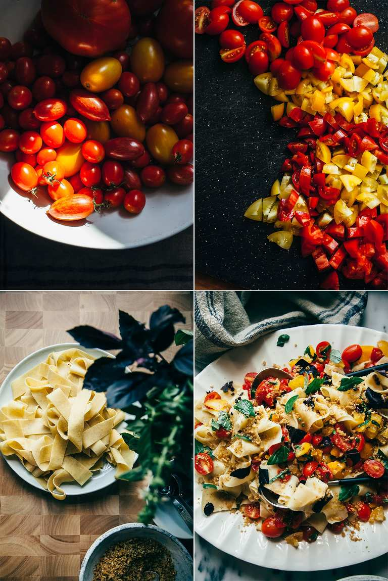 rustic pasta with cheesy chickpea crumble and heirloom tomatoes - The First Mess