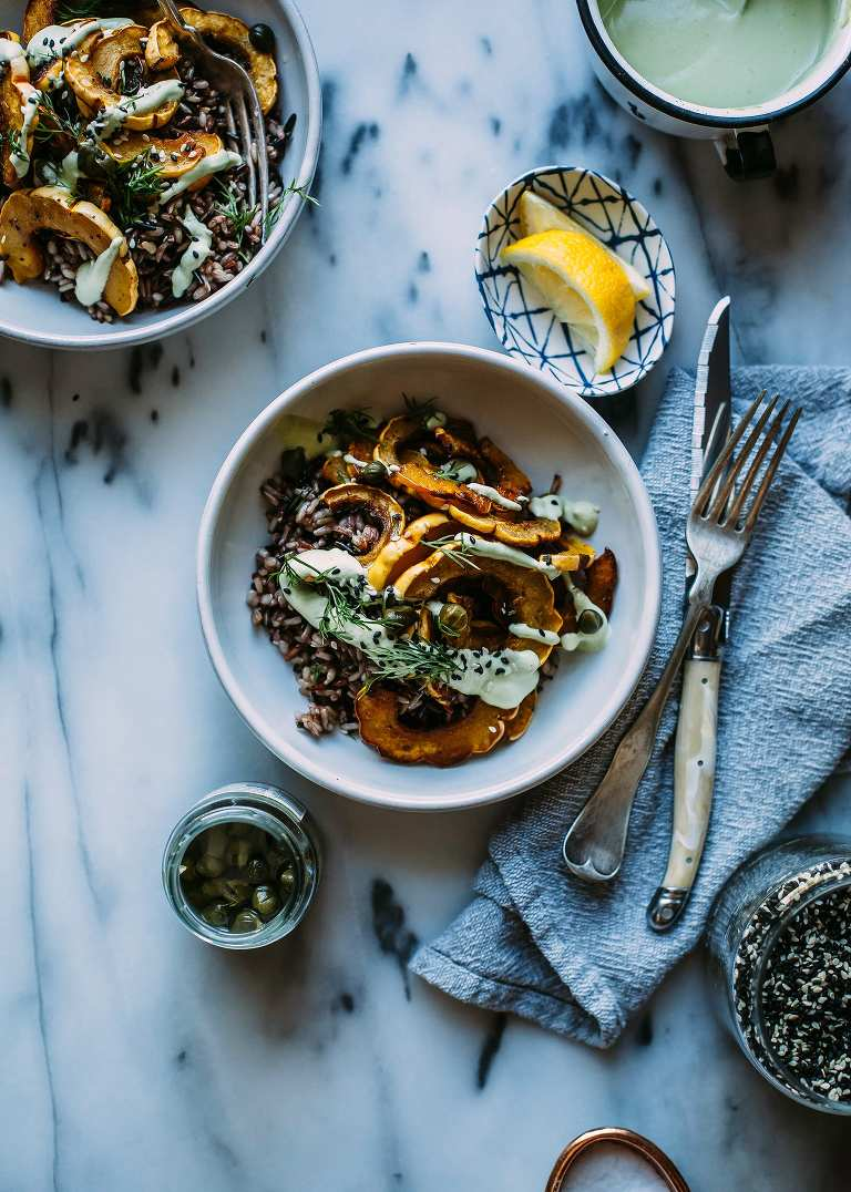 crispy squash bowl with dill cream (vegan) - The First Mess
