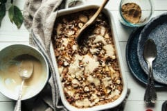 cozy baked apple spice oatmeal with maple cream & hawaij - The First Mess