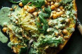Stuffed Spaghetti Squash w/ Chickpeas & Garlicky Arugula Cream (vegan recipe) - The First Mess