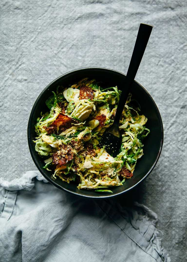 """Citrus Brussels Sprouts Slaw with Crispy Rice Paper """"Bacon"""" Bits & Almond """"Parm"""" - The First Mess"""