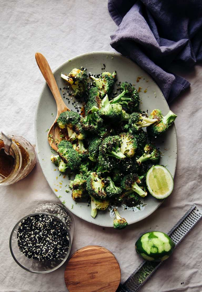 "Charred Broccoli with Ginger Sesame Sauce from ""Dishing Up the Dirt"""
