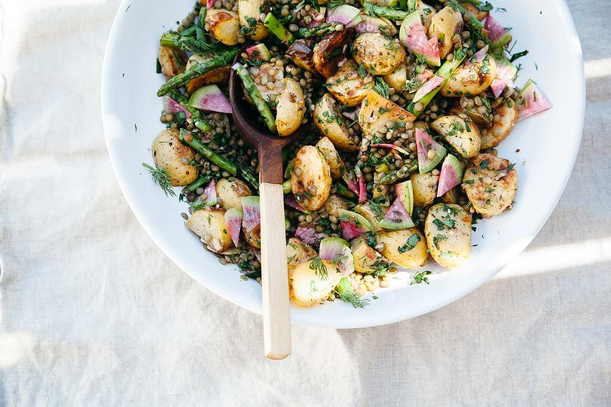 Roasted Potato Salad With French Lentils Amp Spring
