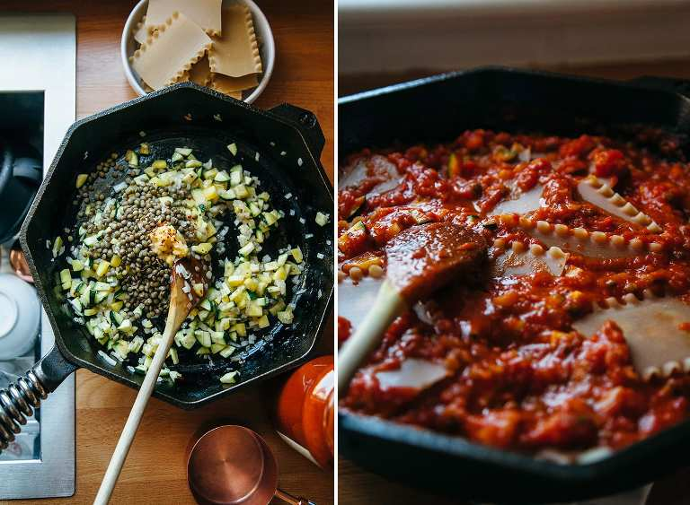 Vegan Skillet Lasagna with Homemade Almond Ricotta & Spinach Pesto - The First Mess