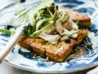Seared Polenta with Spring Salad and Sherry Shallot Vinaigrette - The First Mess