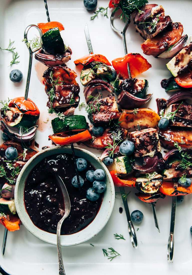 Summer Veg & Tofu Skewers with Blueberry Barbecue Sauce - The First Mess