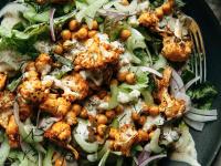Buffalo cauliflower salad with chickpeas & tahini ranch (vegan) - The First Mess