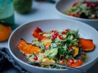 Salty maple Squash with Turmeric Brussels Slaw & Ginger Rice - The First Mess